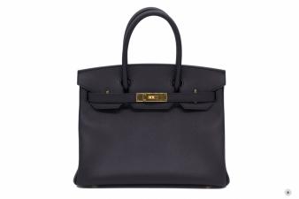 Hermes Black 30 Birkin Epsom Tote Bag