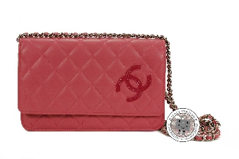 Chanel Pink Patent CC Wallet ON Chain Lambskin A80219 Messenger Bag
