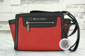 Michael Kors Scarlet+blk Medium Selma Zip Calfskin 30T4MLZM2L Messenger Bag