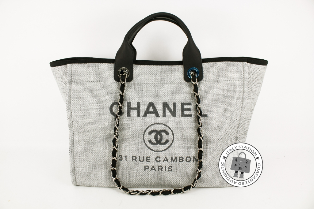 4863594228ec Authentic Chanel 2016 New A66941 Deauville Shopping Grey Fabric Large Tote  Bag