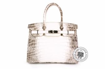 Hermes Beige+brown 30 Himalayan Birkin Mat Niloticus Crocodile (1ST Version) Tote Bag