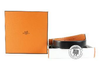 Hermes Black+orange 100 Reversible  32 MM Box Belt