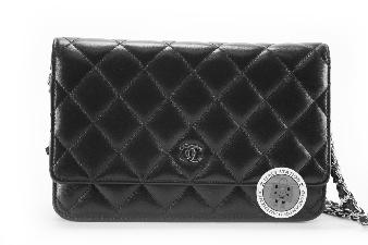Chanel Black Classic CC Wallet ON Chain Lambskin A33814 Y01480 Messenger Bag