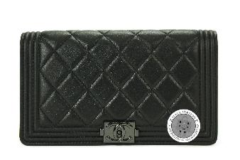 Chanel Black Boy Lambskin A68901 Y25130 Long Wallet