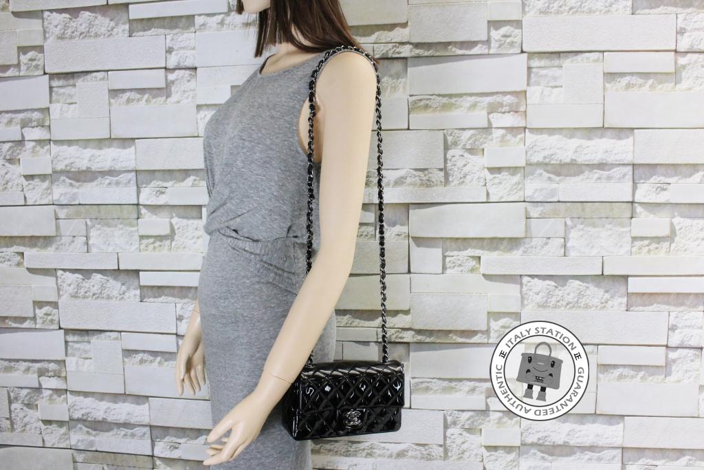 d8ed92c06783 IS028143 -- Chanel Black Mini Classic CC Flap Patent A69900 Shoulder Bag