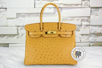 Hermes Tabac-camel 30 Birkin Ostrich Tote Bag