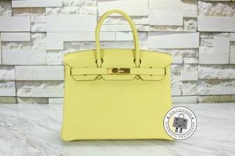 Hermes Jaune Poussin 30 Birkin Togo Tote Bag