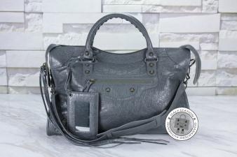 Balenciaga Ardoise Small Stud City Lambskin 115748 D94JT Tote Bag