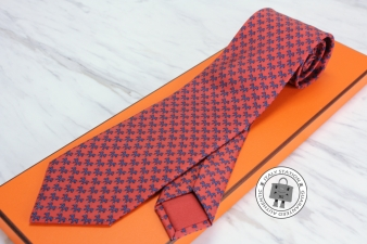 Hermes Red+blue Silk Twill Indian Horse Silk 605781T Tie