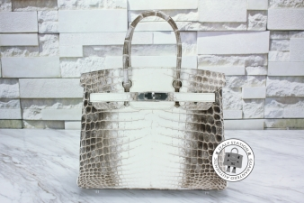 Hermes Beige+brown 30 Himalayan Birkin Mat Niloticus Crocodile (1ST Version) Tote Bag