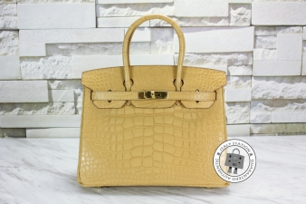 Hermes Argile 30 Birkin Mat Alligator Crocodile Tote Bag