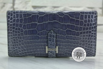 Hermes Bleu Brighton Portefeuille Bearn Soufflet Shiny Alligator Crocodile (thin) Long Wallet