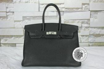Hermes Black 35 Birkin Togo Tote Bag