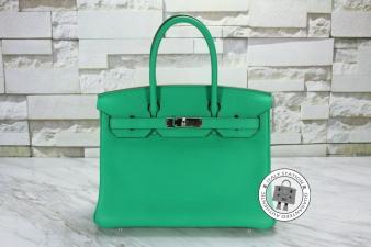Hermes Menthe 30 Birkin Togo Tote Bag