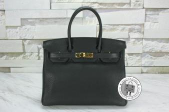 Hermes Black 30 Birkin Taurillon Clemence Tote Bag