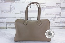 Hermes–Victoria 2 Clemence ,Etoupe Silver Hardware